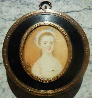 BEAUTIFUL ENGLISH PORTRAIT MINIATURE OF A YOUNG GIRL. ORIG FRAME. REGENCY 1820s