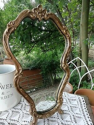 Vintage French Rococo Style Ornate Gilt Framed Oval Dressing Table Mirror 49cm