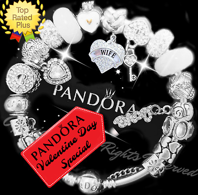 """Authentic Pandora Bracelet Silver with """"LOVE STORY"""" White with European Charms"""
