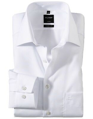 Mens Shirt Olymp Luxor Modern Tailored Fit White Non Iron Cotton Long Sleeve