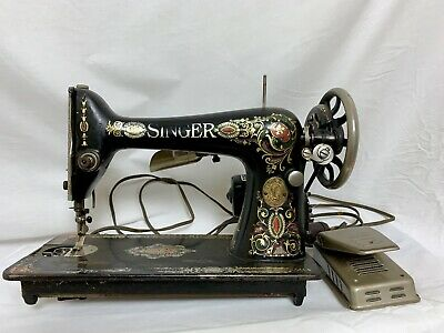 Antique Singer Sewing Machine Red-Eye Treadle Red Head 66 Heavy Duty Ornate Gold