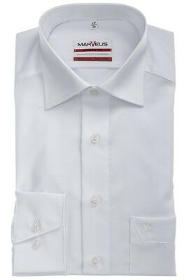 Mens Shirt Marvelis Modern Tailored Fit White Non Iron Pure Cotton Long Sleeve