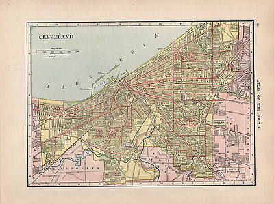 1909 Map ~ Cleveland City Plan Environs Streets Public Buildings Harbor