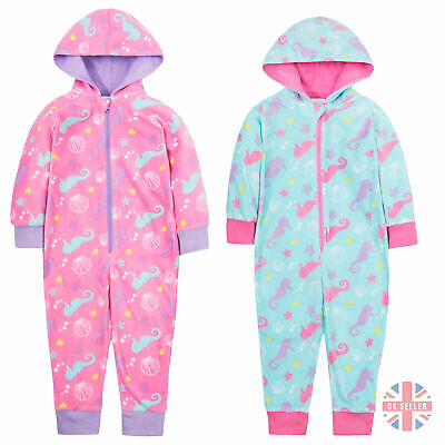 Kids Children Girl Jumpsuit Cosy  Nightwear Pink Seahorse Onezee Microflecee 2-6