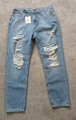 River Island Ripped Mom High Rise Jeans Size 14R BNWT