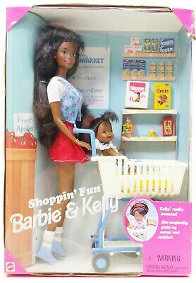 1995 Mattel Shoppin' Fun Barbie And Kelly African American Playset No. 15757