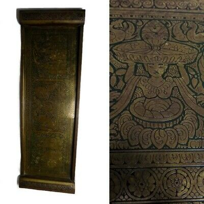 Antique Kinco Chinese Japanese Buddha Buddhist Etched Chased Offering Tray Metal