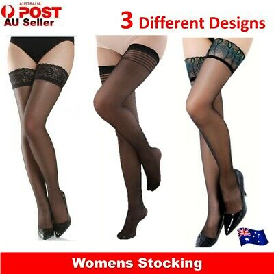 Feathers Lace Striped Sheer Non-slip Slim Sexy Thigh High Stockings For Womens