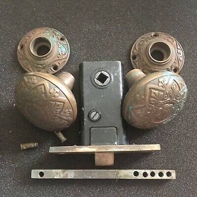 Antique L Russel And Erwin  Cast Brass Doorknob Set With 2 Bronze Rosettes #3
