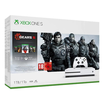 XBOX ONE S CONSOLE GEARS 5 BUNDLE 1TB (inc Gears 1,2,3,4,5) - Brand New Sealed