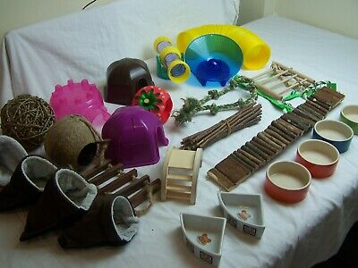 Small Animal Accessories Inc. Bowls, Hides, Wheel, Pouches, Tunnel etc.(Used)