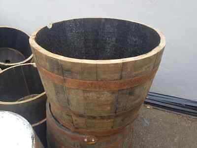 Genuine Oak Half Whisky Barrel Planter Wooden Garden Planter Storage Scottish