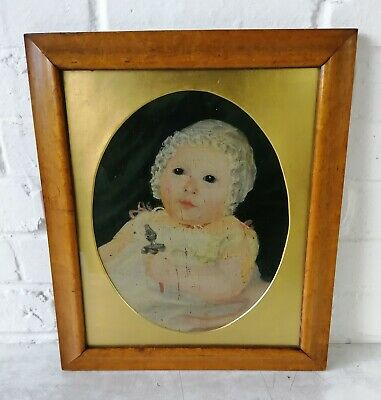 Antique Watercolour Portrait Painting Of A Baby Maple Frame Early 19th Century