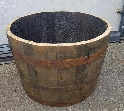 Genuine Oak Half Whiskey Barrel Planter Wooden Garden Pot Storage Scottish