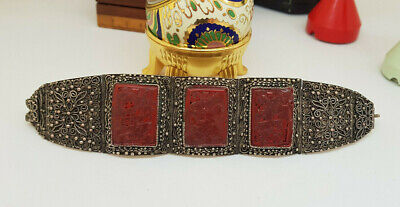 Rare Antique Chinese Export Solid Silver Cinnabar Bracelet