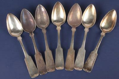 Antique Lot 7 Early American Coin Silver Teaspoons W. Rogers Hartford CT 19thC