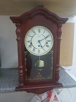 Superb Vintage Franz Hermle 8 Day Mahogany Musical Westminster Chime Wall Clock