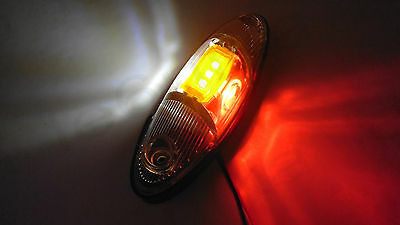 1x 5 LED Red/White/Yellow Light Lamp 12V-24V Side Marker Truck Van Bus Coach