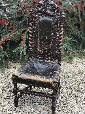 Highly Carved Barley Twist Birds Victorian Oak Gothic Hall/bedroom Chair Leather
