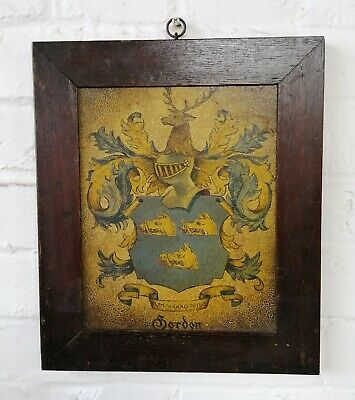 Antique Hand Painted 'Gordon' Coat Of Arms 19th Century Folk Art