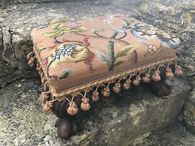 Antique Victorian Small Oak Footstool with Cabriole Legs Embroidered Tapestry