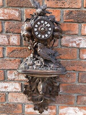 Rare Antique Highly Carved Clock C.Detouche Black Forest Attic Find