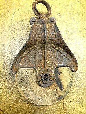 Antique Wood Metal Cast Iron Myers Ok Pulley H-298  Farmhouse Decor
