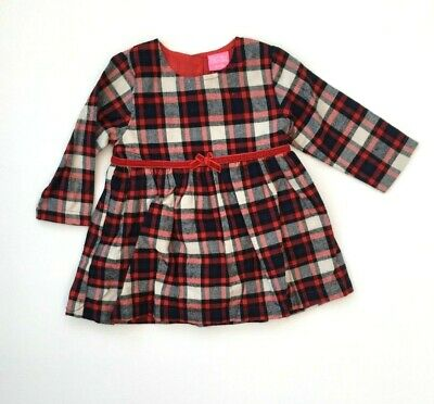 Baby Girls Red Tartan Check Woven Long Sleeve Party Dress Winter Cotton 6-24M
