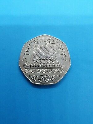 1980 IOM Isle of Man Viking Ship Gotland Picture 50p Fifty Pence Coin AB Die #1