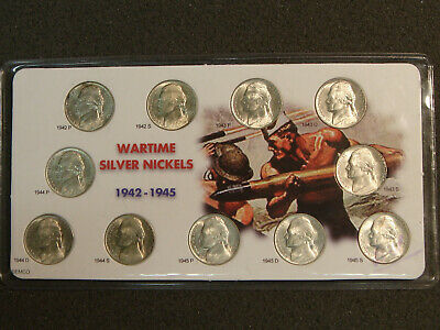 """Jefferson Nickels Silver """"Wartime"""" Set 1942-1945 Mounted on Full Color Card"""