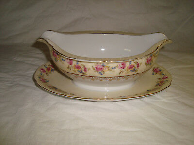 Gold Castle Hostess Occupied Japan Gravy boat w Attached Underplate