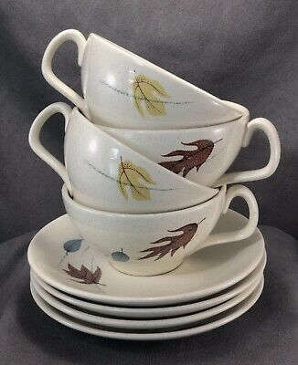 Franciscan Autumn Leaves Tea Cup and Saucer Set- Eight Piece Vintage Earthenware