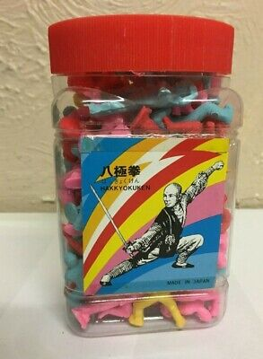 Vintage Retro Novelty Erasers/Rubbers 1980,s IN Shop Display Tub samurai Figures