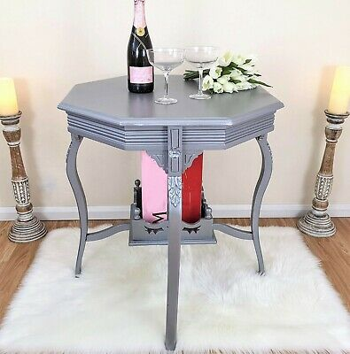 Vintage Two-tier Hand Carved Side Table, Ornate Silver-grey Occasional Table