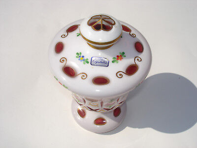 Vintage Bohemian Czech Republic Cranberry Enamel overlay Covered Dish Compote A1