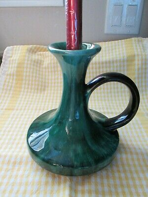 Vintage Blue Mountain Pottery BMP Candlestick Candle Holder & Handle Green Glaze