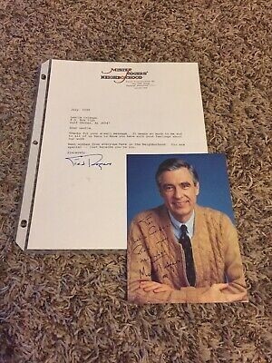 1999 Mister Fred Rogers Autographed 5 x 7 Photo Neighborhood With Signed Letter