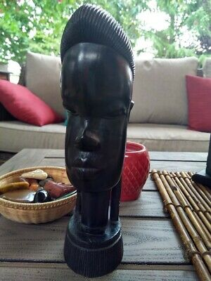 Original Kenyan Hand Carved African Woman Bust Head Ebony Wood Vintage Antique
