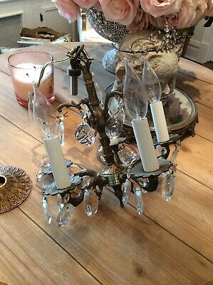 shabby vtg antique Chandelier PETITE FRENCH ITALIAN STYLE CRYSTAL PRISMS LAMP