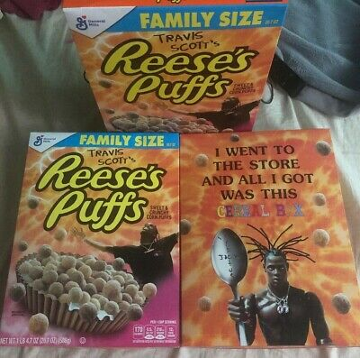 7 Limited Travis Scott Reeses Puffs Cereal 3-Family Size + 4-Regular Size Boxes