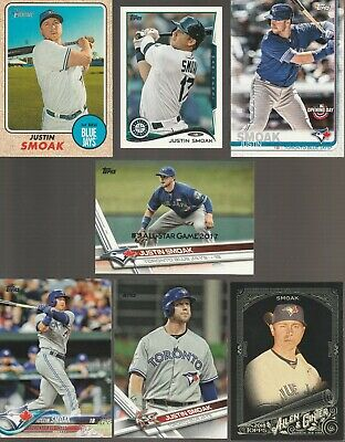 Huge 25 + different JUSTIN SMOAK cards lot 2012 - 2019 Mariners Blue Jays