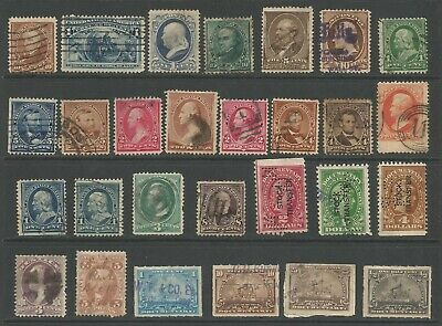 U.S. Stamps - 28 19th Century Used - Documentary Stamps From Early 20th Century