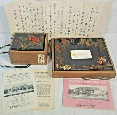 Rare Antique Japanese Takamori-e Lacquer Over Wood Tray & Box - One of A Kind
