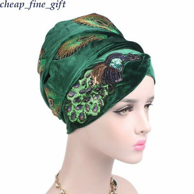 Women Velvet Sequins Peacock Embroidery Turban Extra Long Scarf Africa Cap Wraps