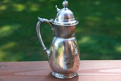 Victorian Silver Plate James W Tufts Syrup Pitcher Honey Jug Ornate Heavy