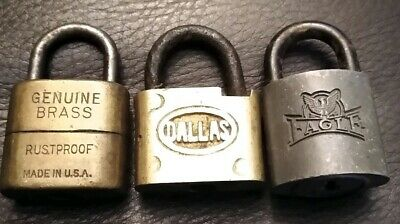 LOT OF 3 VINTAGE PADLOCKS LOCKS DALLAS HPHCo RUSTPROOF EAGLE NO KEYS MADE IN USA