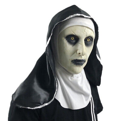 Halloween The Nun Horror Mask Cosplay Valak Scary Latex Masks With Headscarf Sup