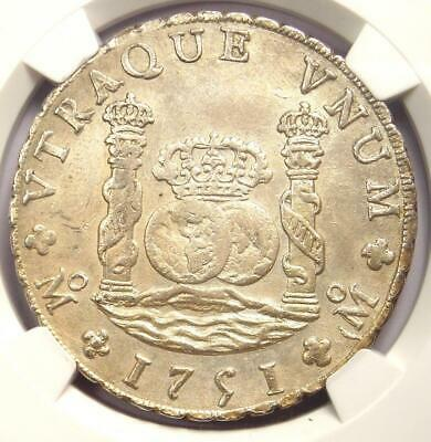 1751-MO MF Mexico Pillar Dollar 8 Reales Coin (8R) - NGC Uncirculated Detail MS