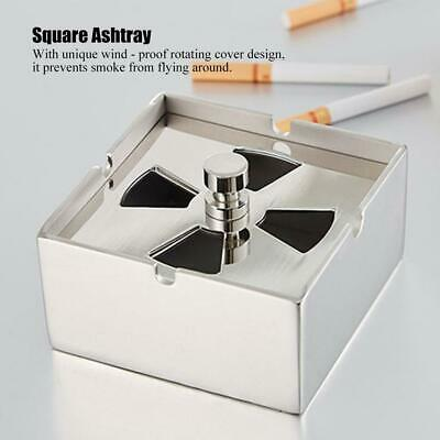 Windproof Smoking Ashtray Holder with Lid Stainless Steel Indoor Office Desktop