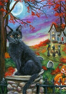 ACEO Original Halloween Cat Witches JOL House Art Miniature Painting